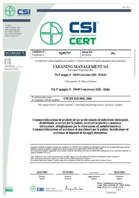 Certification CSI, UNI EN ISO 9001:2008